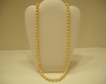 """Gorgeous 22"""" Faux Pearl Single Strand Necklace (2121) 8mm"""