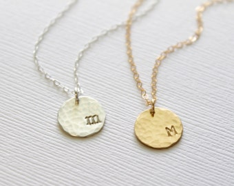 Hammered Initial Necklace, Personalized Initial Disc Necklace, Bridesmaid Gifts, Gift for Women, Dainty Initial, Hammered Disc, Hand Stamped