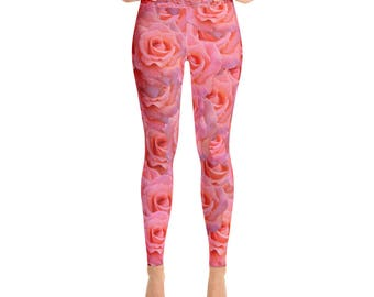 Rose Flower Floral Pattern Pink Red Valentines Day Yoga Pants Leggings