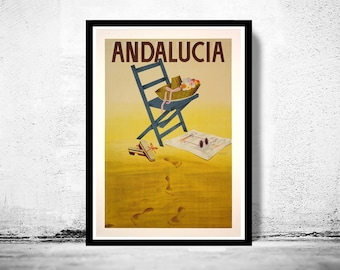 Vintage Poster of Andalucia Spain, Travel Poster Tourism