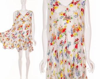 90's Flirty Floral Sleeveless Dress Handkerchief Hemline Mini Dress White Summer Dress Grunge Dress Drew Barrymore 1990's Dress Small Med