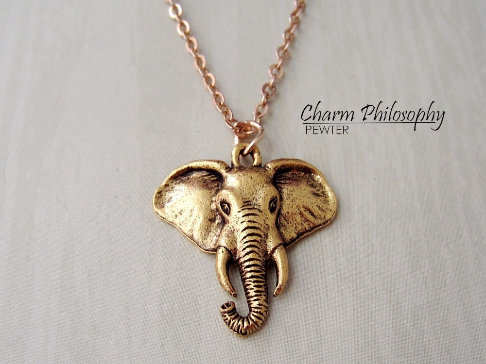 Gold elephant necklace elephant head jewelry antique gold zoom aloadofball Gallery