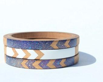 Natasha K. Skinny Bangle Set/ Wood Bracelet Trio/ Stacking Bangles/ Painted Cosmic/ Space/ White/ Chevron Design/ xs-xl
