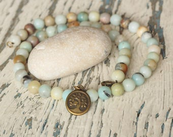 tree of life charm necklace amazonite turquoise necklace gift for sis women Tree of life jewelry everyday Buddhist Zen necklace