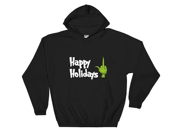 Grinch middle finger Happy Holidays hoodie