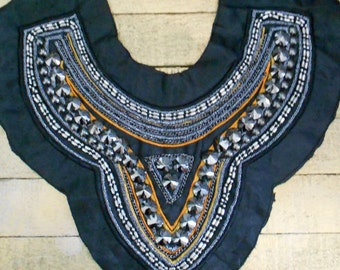 Gunmetal Gray Stone Beaded Stitched Appliques