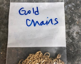 Gold chains in many lengths/styles