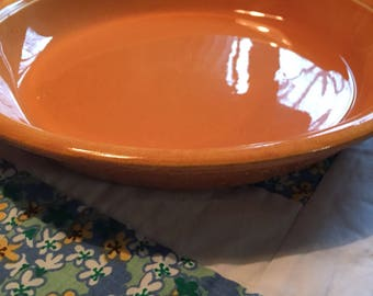 "Vintage Pumpkin Orange 10 1/2"" Pie Plate Oven Serve Homer Laughlin Made in The USA"