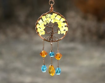 Yellow Tree of Life Sun-catcher ornament,  Sunshine tree home decor, Mothers Gift, Dreamcatcher, blue and yellow Family Tree, tree ornament