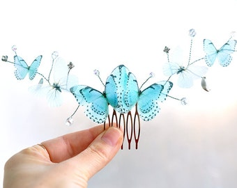 blue turquoise butterfly hair comb for bride butterfly wedding spring gift for her hair vines wedding bridal hair piece bridal haed piece
