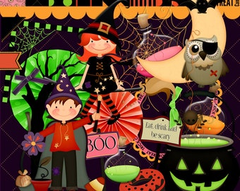 Halloween scrapbook, Halloween Party, Instant download, , Digital scrapbook, Journal Clipart,