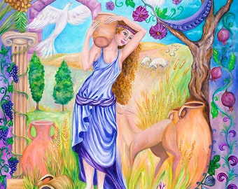 Rebecca at the Well fantasy art 27x39 20x27 13x20 canvas giclee. Print by VardaFreierLevyArt