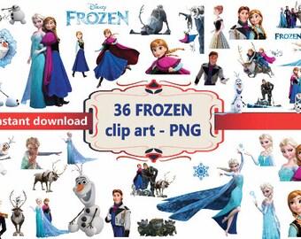 INSTANTÁNEA DL - 36 x congelado Disney Clipart - imprimible Digital Clipart gráfico instantánea descargar