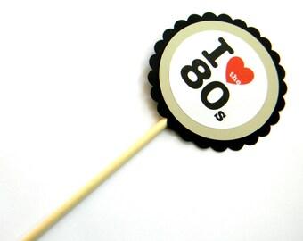 6 I Love the 80s Centerpieces, 80s Theme, 80s Party, Birthday Decor, Table Decor, 80s Birthday, Centerpieces, Party Decor, Neon 80s, 1980s