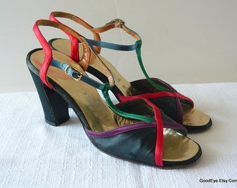 Vintage T-Strap Sandals Low Heels / size 5 .5 M Eu 35. 5 / Black Satin Red Green / DELISO Peep Toe 1970s