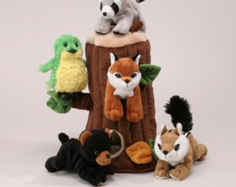 Plush Tree House with Animals- Five Stuffed Forest Animals-Custom Embroidered with Name