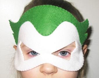 Joker Superhero felt mask - Green White - kids superman costume - adults boys soft felt Dress up play accessory - photo prop