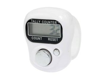 WHITE Digital Finger Tally Counter, Digital Row Counter, Finger row counter, knit row counter, crochet counter stitch counter knit counter