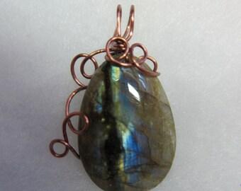 Labradorite wire wrap pendant copper color non tarnish wire wire wrap jewelry