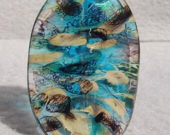 AQUACADE Handmade Lampwork Art Glass Focal Bead - Flaming Fools Lampwork Art Glass  sra