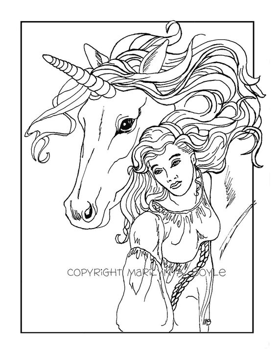 Unicorn Kleurplaat Volwassenen Adult Coloring Page Digital Download Maiden And Unicorn