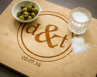 Personalized Cheese Board, Custom Cutting Board, Personalized Cherry Cutting Board: Wedding Monogram, Housewarming, Anniversary Gift