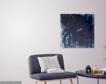 From the Darkness : Original Abstract Art Modern Minimalistic Painting on Canvas
