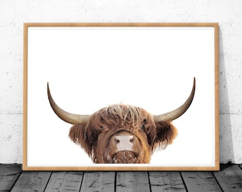 Highland cow art, Printable art, Farm Animal Art, Digital Download, Cow Print, Highland Cow, Cattle Prints, Black And White Animal Prints