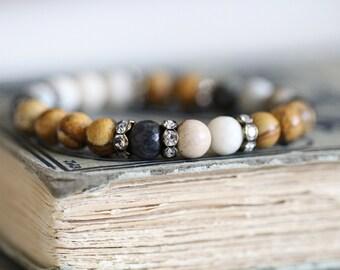 Rustic Romance, Gemstone Bracelet, Mixed Gemstones, Bead Bracelet, Stacking Bracelet, 8mm, Mixed Gemstones