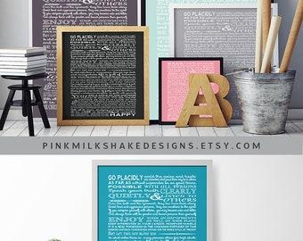 Desiderata - Max Ehrmann - Desiderata print - typography art print - inspirational print - poetry print -motivational art