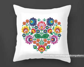 Flowers cross stitch pattern PDF,  Pillow cross stitch, Polish, Modern cross stitch, Floral ornament, Floral cross stitch, Floral heart