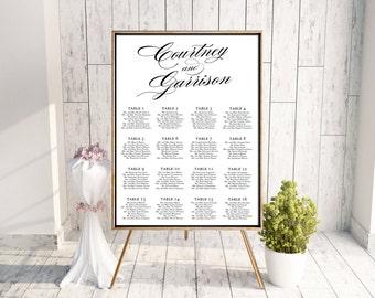 Wedding Seating Chart (Gracefully) - Digital File, DIY, pdf, Printable, Calligraphy, Typography, Elegant, Modern, Black, White, Simple, jpeg