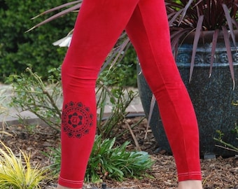 "Red Yoga Leggings Hand Dyed from The ArtiZan Collection with Optional Hand Painted Design 30"" Inseam"