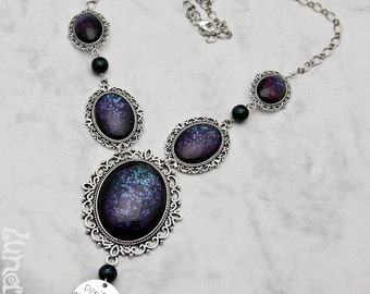 Don't let anyone dull your sparkle Collier Kollier Necklace XL large goth handmade fashion jewelry shimmering holographic glitter opulent