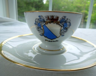 Cup Saucer Demitasse City of Zurich Coat of Arms Gilded Inside Thomas Rosenthal Collector Wedding Anniversary Birthday Bridal Gift Vintage