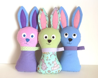 Stuffed Bunny Pattern - Hoppy Loppy PDF Sewing Pattern - Soft Toy Baby Plush DIY Easter Bunny for Springtime Peek-a-Boo Instant Download