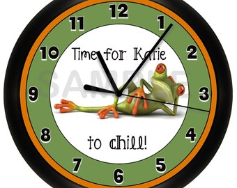 Personalized Green FROG WALL CLOCK