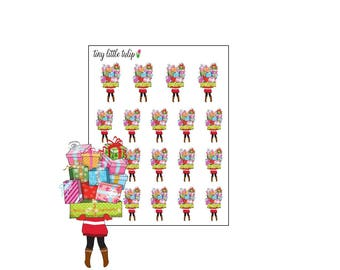 Planner Stickers Christmas Girl w/ Stack of Presents