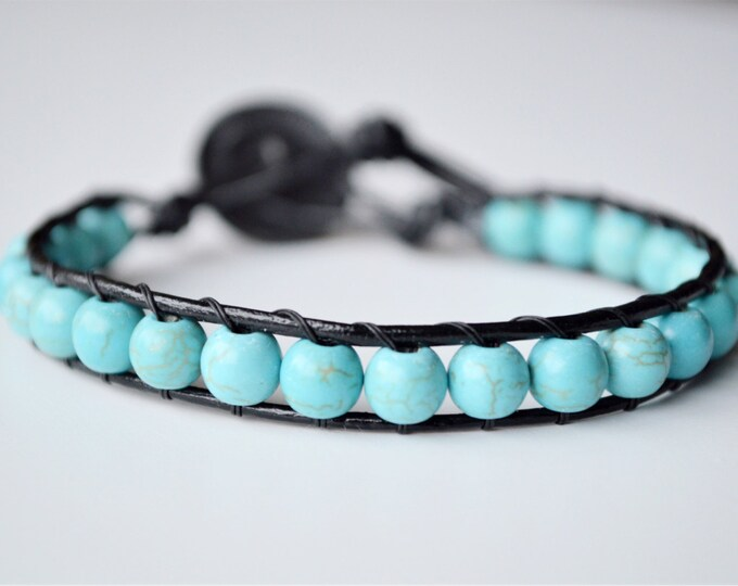 Handmade leather beaded bracelet, green turquoise bead bracelet, leather wrap bracelet, original gift for her, bohemian bracelet