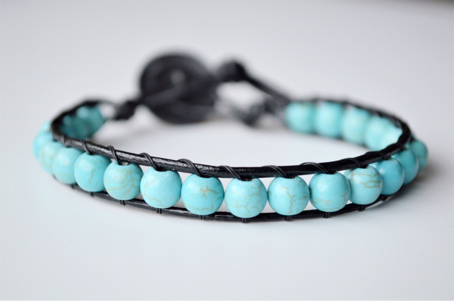 Fantastic Handmade leather beaded bracelet, green turquoise bead bracelet  YW54