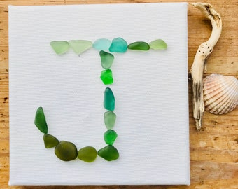 Sea Glass Letter/Initial Canvas Gift