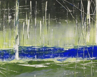 """Original image, Monotype """"Haunted Forest 11"""", sheet size 30 x 40 cm, motif size 20 x 30 cm, trees, forest, abstract landscape, night"""