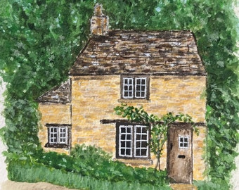 English cottage original watercolor and gouache painting