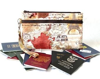 Family Passport Wallet - Family Travel Wallet - Travel Document Holder - Paris Travel Gift - Multiple Passport Holder - Travel Organizer