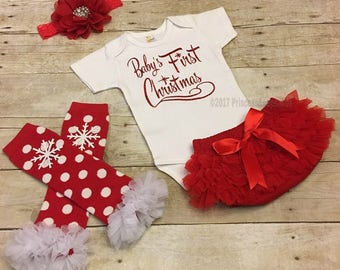 Baby Girls Christmas, Babys First Christmas Outfit, First Holiday Outfit, Free Personalization, Newborn holiday Outfit, baby shower gift