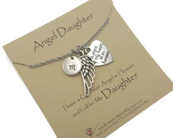 Remembrance Loss of Daughter Memorial Jewelry, Loss of Loved One Memorial Necklace, A Piece of My Heart is in Heaven, Bereavement Gift Idea