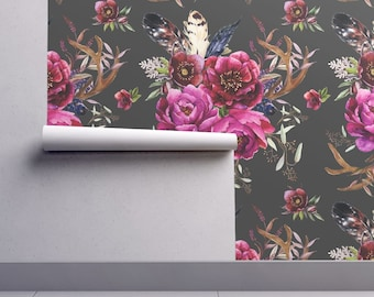 Bold Boho Floral Wallpaper - Bohemian Holidays - Grey By Shopcabin - Custom Printed Removable Self Adhesive Wallpaper Roll by Spoonflower