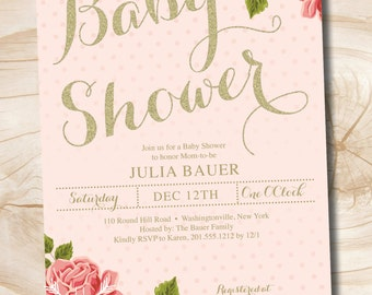 Gold and Floral Shabby Chic Baby Shower Invitation - Printable Digital file or Printed Invitations