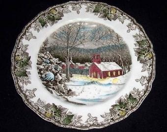 "Johnson Bros Friendly VILLAGE 10"" Dinner Plates~SCHOOL HOUSE~England"