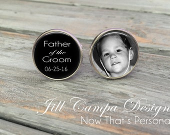 Father of the Groom Cufflinks - Custom Photo Cuff Links - Silver Wedding Cufflinks - Picture Cuff Links - Father of the groom cuff links